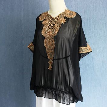 Vintage Blouse Dress, Embroidered Maxi Blouse, Short Sleeve Womens Clothing, Black Short Caftan Dress