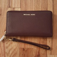 NEW!! MICHAEL KORS Money Pieces Travel Continental Saffiano Leather Mulberry