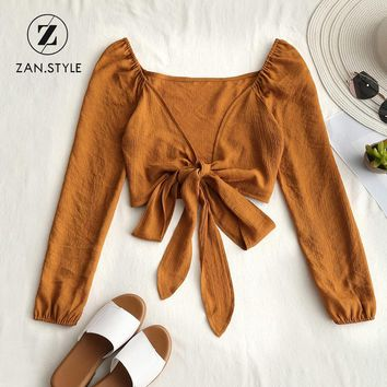 ZAN.STYLE Sexy Women Low Cut Tied Bowknot Cropped Blouse Deep V Neck Full Sleeve Elastic Short Women Blouse Solid Tops Casual