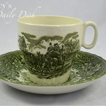 Green English Transferware Flower Pot Tea Cup & Saucer Coaching Scene