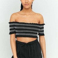 Pins & Needles Contrast Ruched Off-The-Shoulder Top | Urban Outfitters