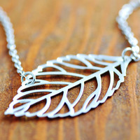 Silver Leaf Necklace - filigree leaf necklace, sterling silver, skelton leaf necklace, leaf pendant