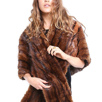 Chocolate Mink Fur Stole - Vintage