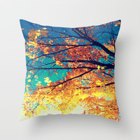 Golden Leaves Blue Skies Softer Autumn Series #2 Throw Pillow by 2sweet4words Designs