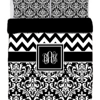 Custom Personalized Chevron & Damask Duvet Cover- Available TWIN, F-Queen, King size -Choose from Bedding Swatch Colors