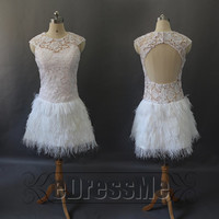 Sexy Pink scoop Backless Feathers Lace Short Prom Dress/ Prom Dress/Evening Dress/Party Dresses e3032