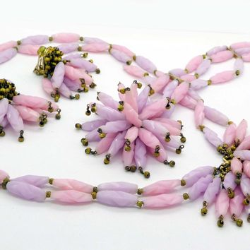Vintage Signed Hobe Carved Pink and Gold Bead Dangle Lampshade Parure, Clip Earrings, Necklace and Bracelet
