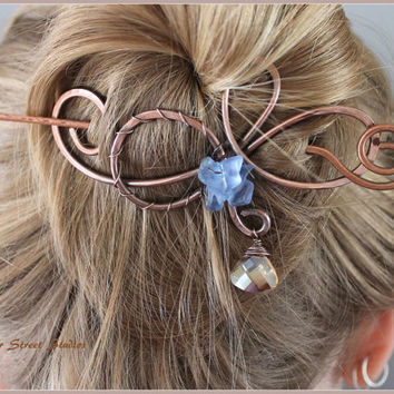 Hair Slide with Champagne Drop and Blue Sapphire Chips, Copper Bun Holder, Copper Hair Pin, Copper Hair Barrette, Womens Accessories, Beaded