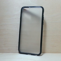 iPhone 6 (4.7 inches) Case Silicone Bumper and Translucent Frosted Hard Plastic Back - Black