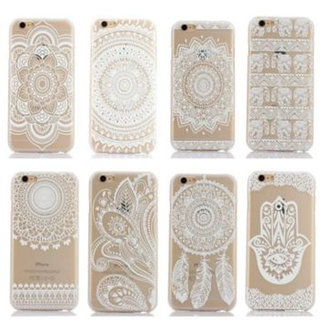 "iPhone 6 6S Hard Plastic Back Case Cover HENNA OJIBWE DREAM CATCHER Ethnic Tribal "" FREE SHIPPING """