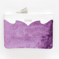35% off FROST 4 / White metallic leather & violet velvet clutch - Ready to Ship-spring sale