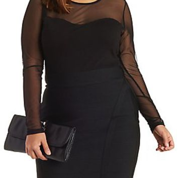 PLUS SIZE MESH LONG SLEEVE BODYSUIT