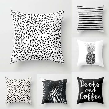 "Black & White Spots Stripes Pineapple Throw Pillow Cover Decorative Massager Pillows Linen Zip DIY Home Decor Gift""18X18''"