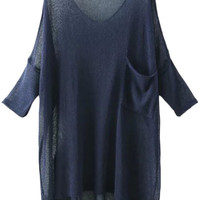 Navy Blue Semi Sheer Knit Blouse