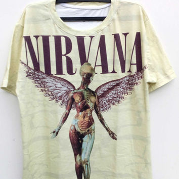 Nirvana In Utero T-shirt, Nirvana T-Shirt All Over Full Print Tshirt 100% Cotton, Rock Music T-Shirt Clothing Unisex T-Shirt, Nirvana