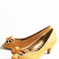 jenny indie bow heels in marigold at ShopRuche.com