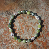 Faceted Serpentine Bracelet with Silver Accents for Chakra Clearing and Alignment, Attracting Abundance, and Healing Mother Earth