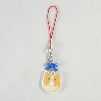 Corgi, dog, donut, food, dessert, phone charm, cute, kawaii, anime, zipper charm, keychain, acrylic charm, blue
