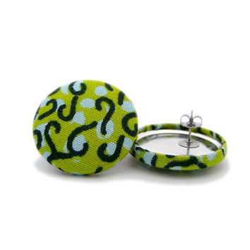 Bright Green Swirls Earrings // African Button Earrings // Ankara Earrings //Comfortable // Hypoallergenic