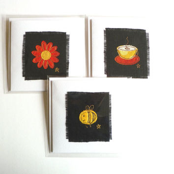 Handmade greetings cards - mixed set of 3. Bee card, coffee cup card and red flower card on white textured card. Blank for your own message.