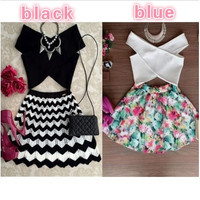 Casual Crop Top And Skirt Set 2 Piece Set [9305811079]