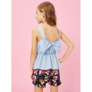 Girls Peplum Top & Floral Print Shorts Set
