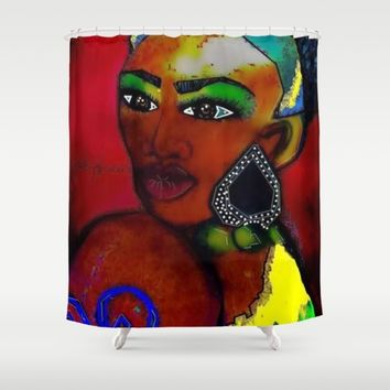 MRS AFRICA Shower Curtain by violajohnsonriley