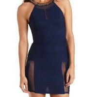 Chain Halter Mesh Cut-Out Bodycon Dress by Charlotte Russe