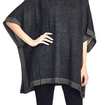 Short Sleeve Knit Pullover Sweater Cowl Neck Poncho