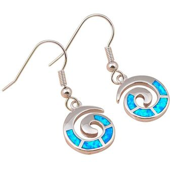 STYLEDOME Blue Fire Opal Silver Stamped Dangle Earrings