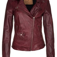 Goosecraft Leather jacket - red - Zalando.co.uk