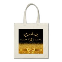 50th birthday elegant gold bow with sparkle black tote bag