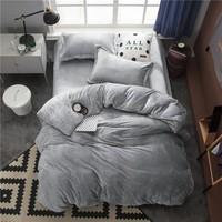 Cool Twin Full Queen King size Bedding Set Gray Fleece Warm Bed sheet Fitted sheet Bed Duvet cover parrure de lit ropa/juego de camaAT_93_12