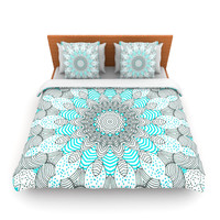 "Monika Strigel ""Dots and Stripes Mint"" Pattern Lightweight Duvet Cover"