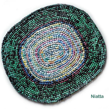 Crochet Plarn Rug Plastic Bag Oval Floor Mat Pet Bed Niatta