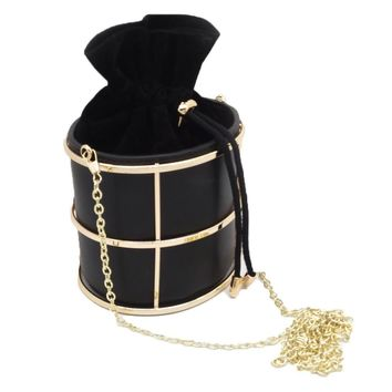 Black Modern Chic PU Leather Metal Bucket Bag