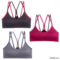 Stylish dual shoulder strap for better control Removable pads Bra Yoga Top #82051