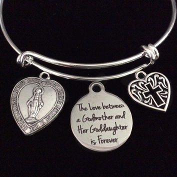 The Love Between a Godmother and Goddaughter Expandable Charm Bracelet Adjustable Bangle Gift Miraculous Mary Cross