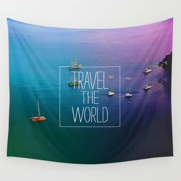 Travel The World Wall Tapestry by Sara Eshak