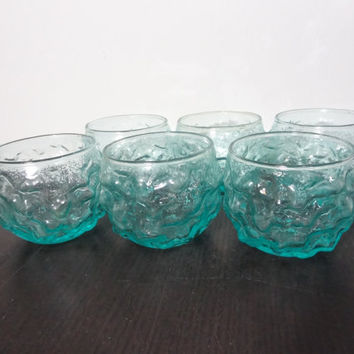Vintage Anchor Hocking Lido Milano Aqua or Turquoise Blue Roly Poly Glasses - Set of 6