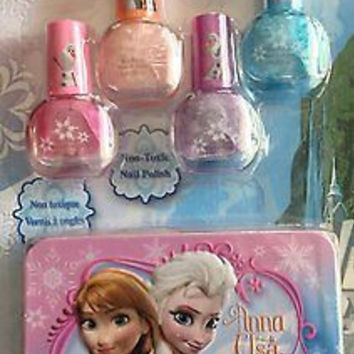 DISNEY FROZEN ELSA AND ANNA NAIL POLISH & 3D TIN-BRAND NEW FACTORY SEALED!