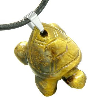 Amulet Turtle Cute Lucky Charm Healing Protection Powers Tiger Eye Pendant Leather Necklace