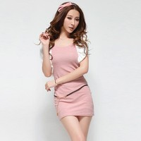 Puff Sleeve Slim Dress Pink - Designer Shoes|Bqueenshoes.com