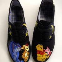 VANS VERSION Any Size 5.5-11 Hand Painted Winnie Pooh Piglet Tigger Eeyore & Disney Inspired Galaxy Night Sky Shoes Womens Custom Keds Vans