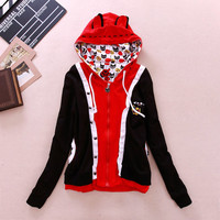 Cute cartoon cat ear fleece hoodie