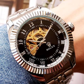 Rolex Tide brand high-end wild men and women mechanical watches Silver.