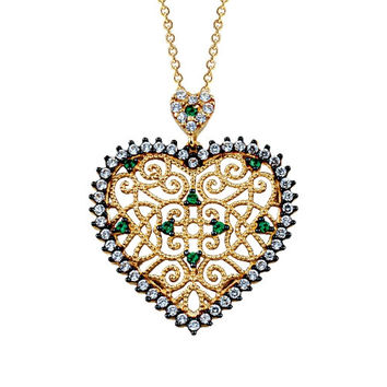 Heart 14k Solid Gold Ottoman Style Necklace Green Stones Special Necklace
