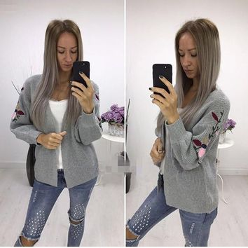 Light Grey Flowers Embroidery Long Sleeve Casual Cardigan Sweater
