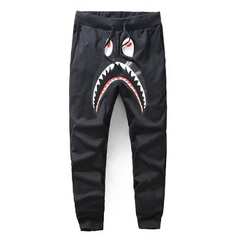 BAPE AAPE Classic Popular Men Women Casual Shark Mouth Print Drawstring Sport Stretch Pants Trousers Sweatpants Black