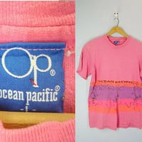 Vintage Ocean Pacific Tee, Ocean Pacific T-shirt, 1980s Top Blouse Tee, Pink 80s Slouchy Shirt, Surfer Tee T-shirt, 80s Shirt, Size Large
